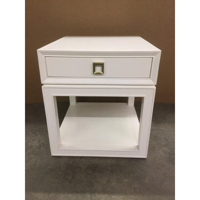 """Malibu Loft"" Single Drawer White Side Table - Image 2 of 6"
