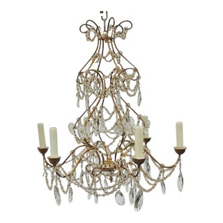 Early 20th C Italian Iron and Crystal Chandelier