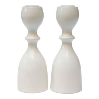Mid-Century Japanese Modern Bulbous-Form White Candlesticks - a Pair
