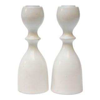 Mid-Century Modern Bulbous-Form White Candlesticks - A Pair