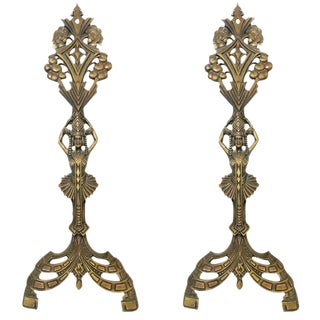 Egyptian Revival Art Deco Fireplace Andirons - A Pair