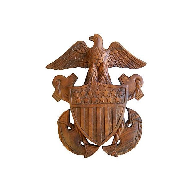 Image of 1960s Carved Wooden Patriotic Plaque