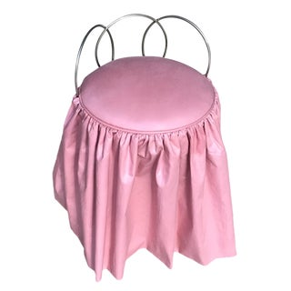 Vintage Metal Vanity Stool W/ Pink Cushion & Skirt