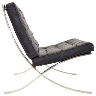 Ludwig Mies van der Rohe Barcelona Chair in Stainless Steel and Black Leather
