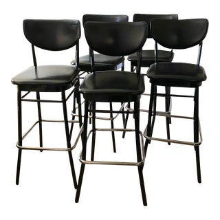 Vintage Black and Chrome Bar Stools - Set of 5