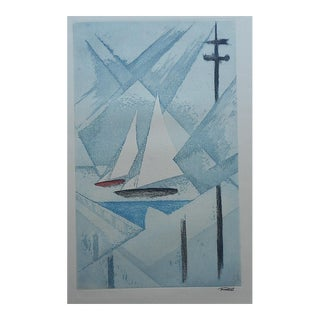 Mid 20th C. Modern Sailboats Etching