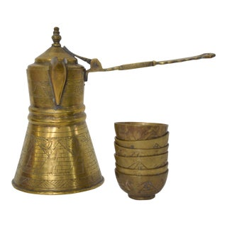Vintage Turkish Brass Tea or Coffee Service- 7 Pieces