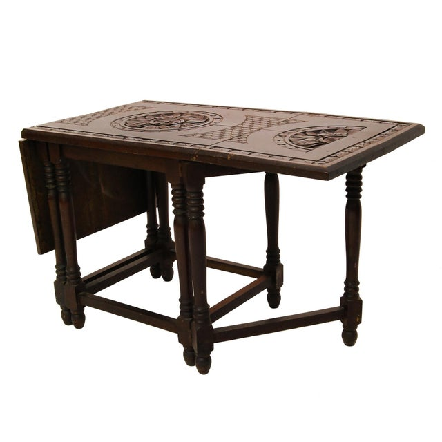 Image of Folding Mahogany Side Table w/Floral Hand Carving