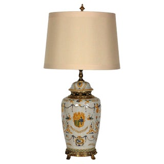 Vintage Italian Armorial Ceramic Lamp