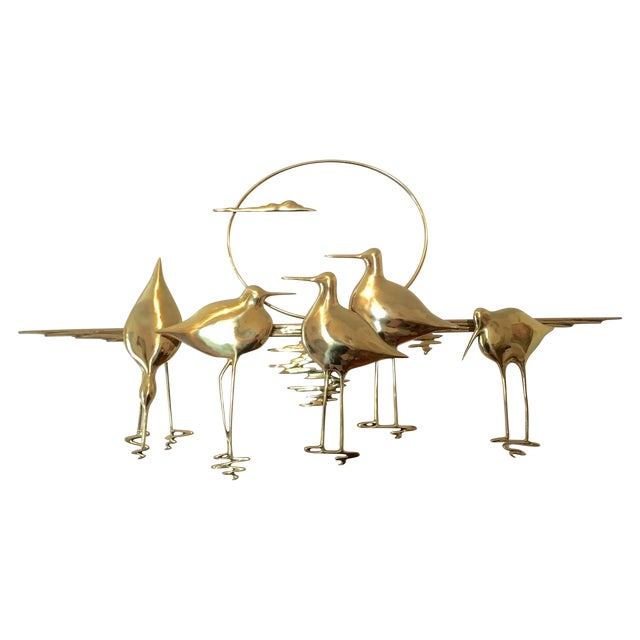 Mid-Century Sandpiper Wall Sculpture - Image 1 of 6