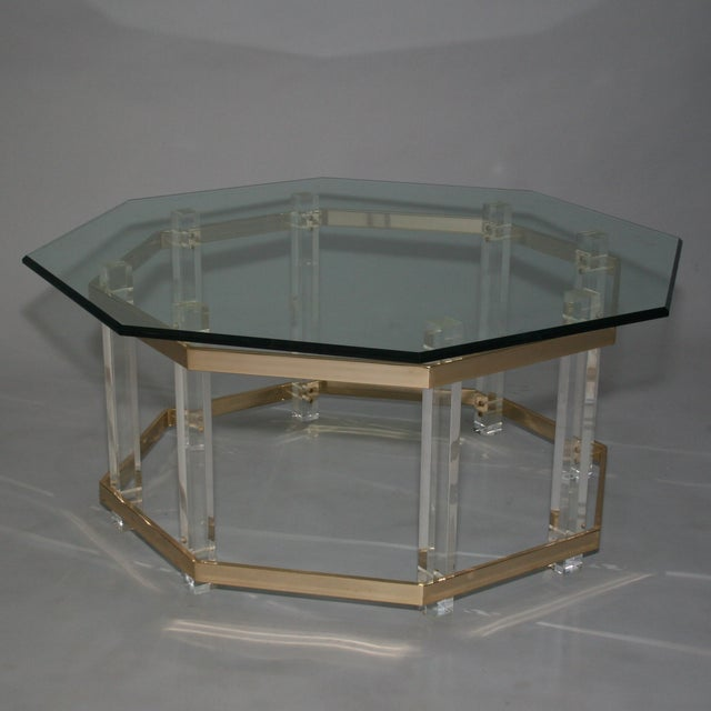 Large Octagonal Glass Lucite Brass Coffee Table