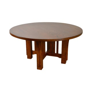 "Mission Oak Style Solid Oak 60"" Round Dining Table"