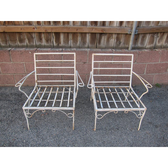 Image of White Mid-Century Patio Chairs - A Pair