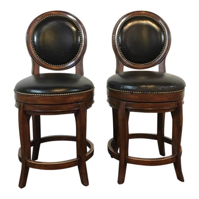 Mahogany & Black Leather Swivel Bar Stools - A Pair - Image 1 of 11