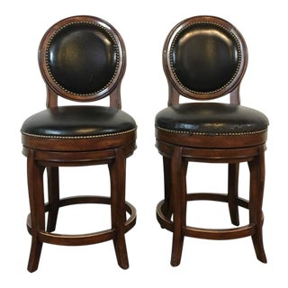 Mahogany & Black Leather Swivel Bar Stools - A Pair