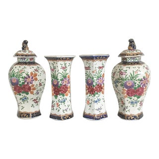 18th Century French Octagonal Faience Garniture Vases - Set of 4