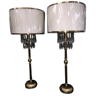 Currey & Company Crystal & Brass Table Lamps - A Pair