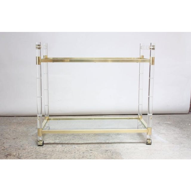 Charles Hollis Jones Lucite Faux-Bamboo and Brass Serving Cart - Image 11 of 11