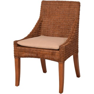 Palecek Woven Wicker Dining Chairs - A Pair
