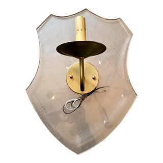 Lucite & Brass Shield Sconces - A Pair