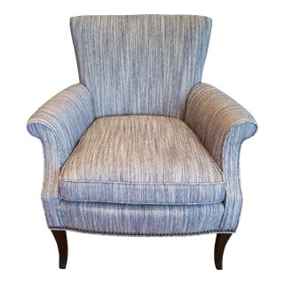 Tight Back Arm Chair in Blue & Grey Fabric