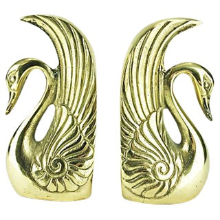 Vintage Brass Swan Bookends - A Pair