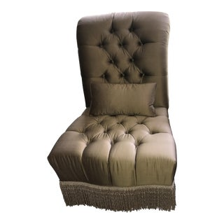 Custom Silk Button Tufted Fringed Slipper Chair