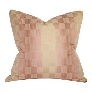 Silk Cream, Pink & Green Checkered Pillow