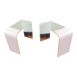 Mid-Century Lucite & Formica  End Tables - A Pair