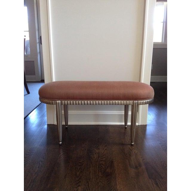 Interior Crafts Silver Leaf Upholstered Bench - Image 2 of 11