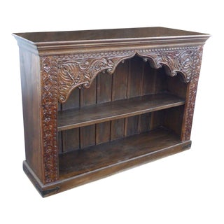 Vintage Spanish Indonesian Style Carved Two Tier Bookcase