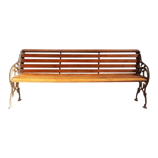 Cast Iron Teak Park Bench Chairish