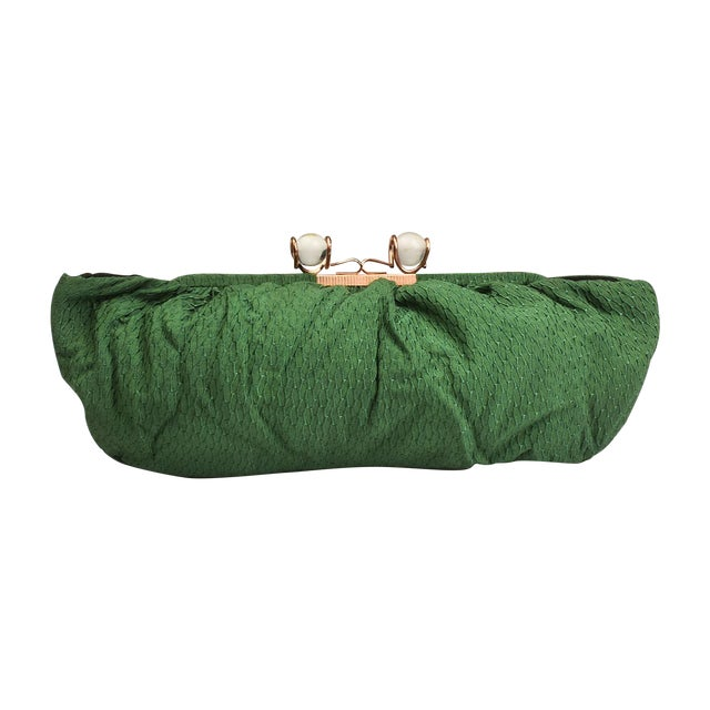 Image of Vintage Mid-Century Oversized Green Clutch Purse