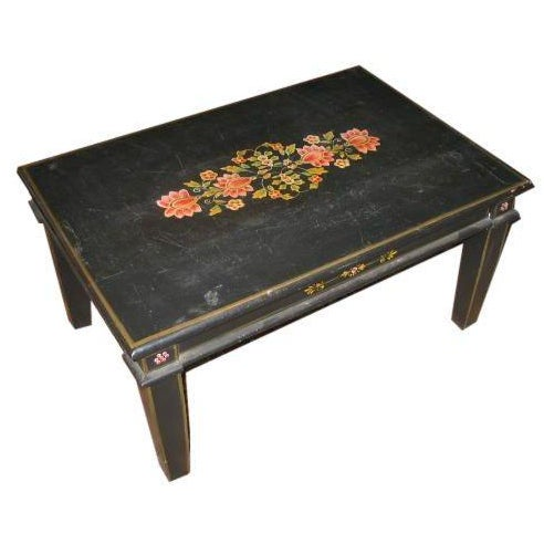 Hand Painted Floral Accented Black Coffee Table Chairish