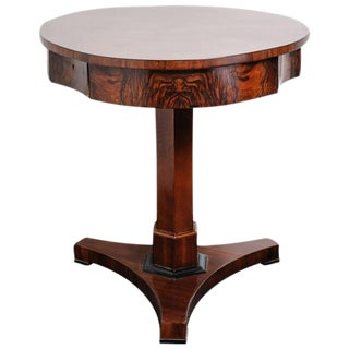 19th Century Biedermeier Pedestal-Center Table with Two Storage Drawers