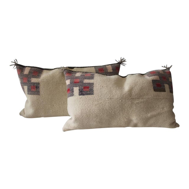 Fantastic Pair of Geometric Navajo Indian Weaving Saddle Blanket Pillows - Image 1 of 5