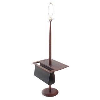 Danish Modern Oiled Teak Floor Lamp with Magazine Rack