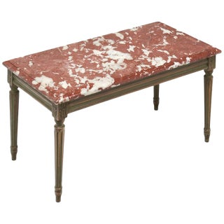 """Louis XVI Style """"Rouge Royal"""" Marble-Topped Coffee Table"""