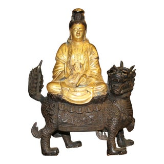 Gilt Bronze Quan Yin Riding Foo Dog