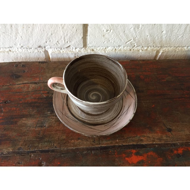 Stylized Spiral Tea Cup & Saucer - Image 3 of 9