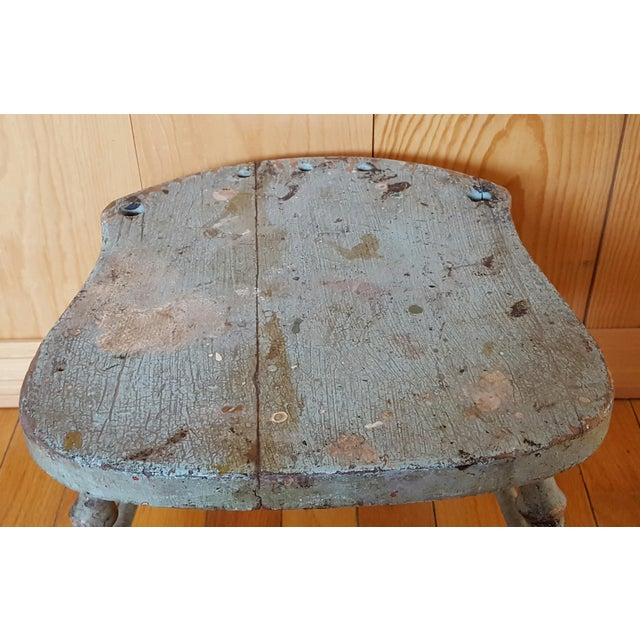 Vintage Blue Chippy Wood Stool - Image 3 of 5