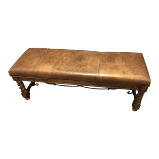 Distressed Leather Top Bench