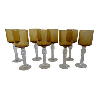 Amber Crystal Aperitif Glasses - Set of 8
