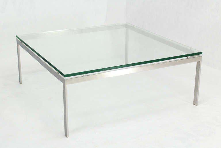 Large Square Stainless Base And Glass Top Mid Century Modern Coffee Table    Image