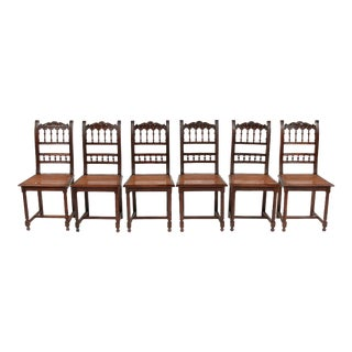 1870s French Renaissance Henry II-Style Chairs , S/6