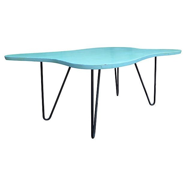 Mid-Century Turquoise Hairpin Coffee Table - Image 3 of 5