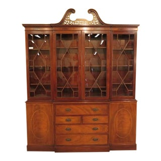 Baker Mahogany English Style Breakfront Bookcase