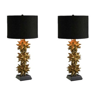 Global Views Antique Gold Urchin Table Lamps - A Pair
