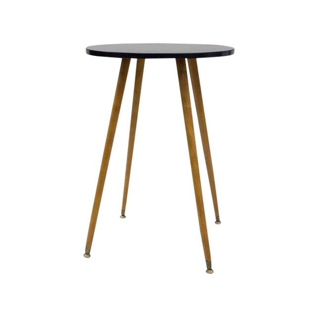 Mid-century Black Laminate & Tall Wood Side Table - Image 1 of 4