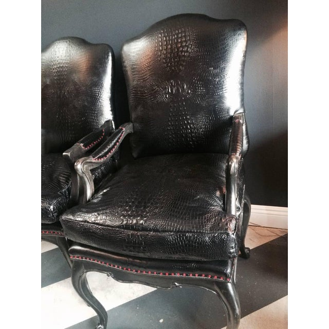 Leather Crocodile Library Chairs - A Pair - Image 3 of 4